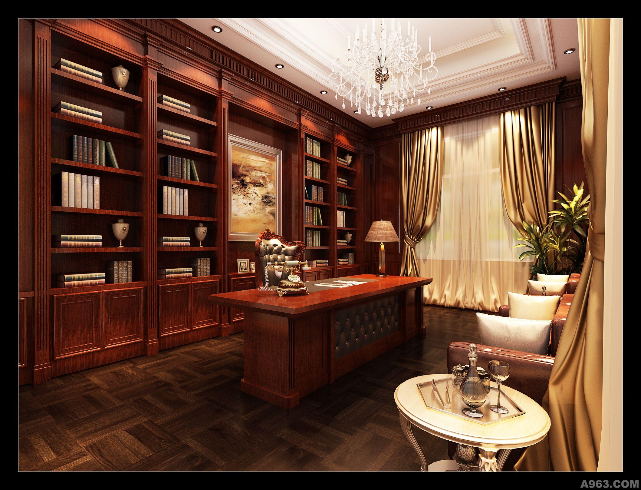 客厅:往往最显示业主的个性和品位,客厅是连接内外和沟通客主情感的主要场所。因此,客厅的设计从来都是设计师的着力点,不论是顶面、地面、墙面,还是家具乃至小小的配饰,都力求极致。 在客厅的设计上采用了一对对称的罗马柱,简洁,且气势磅礴,大有迎宾之势。典型的西式元素壁炉与东方的古典红木家具的共处一室,相视而置,中西合璧,和谐统一,使东方的内敛与西方的浪漫相融合,宛若东西方两种文明的对话,这正体现了业主兼收并蓄,包容宽广的博大胸怀。顶部的造型同样是一样抢眼,方与圆、黑与白的对比,设计师善于把东方易学的精髓贯穿于