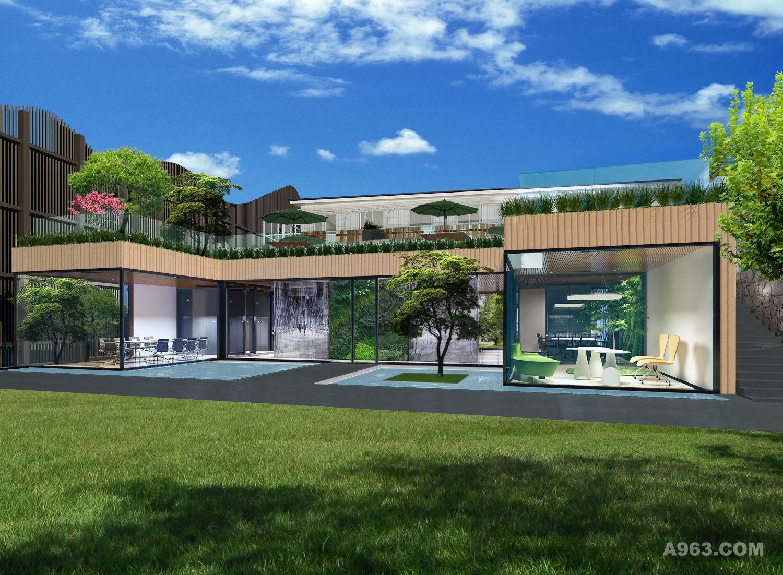 设计说明:项目包括一栋三层办公楼改建,一栋一层平房的重建,一个10米
