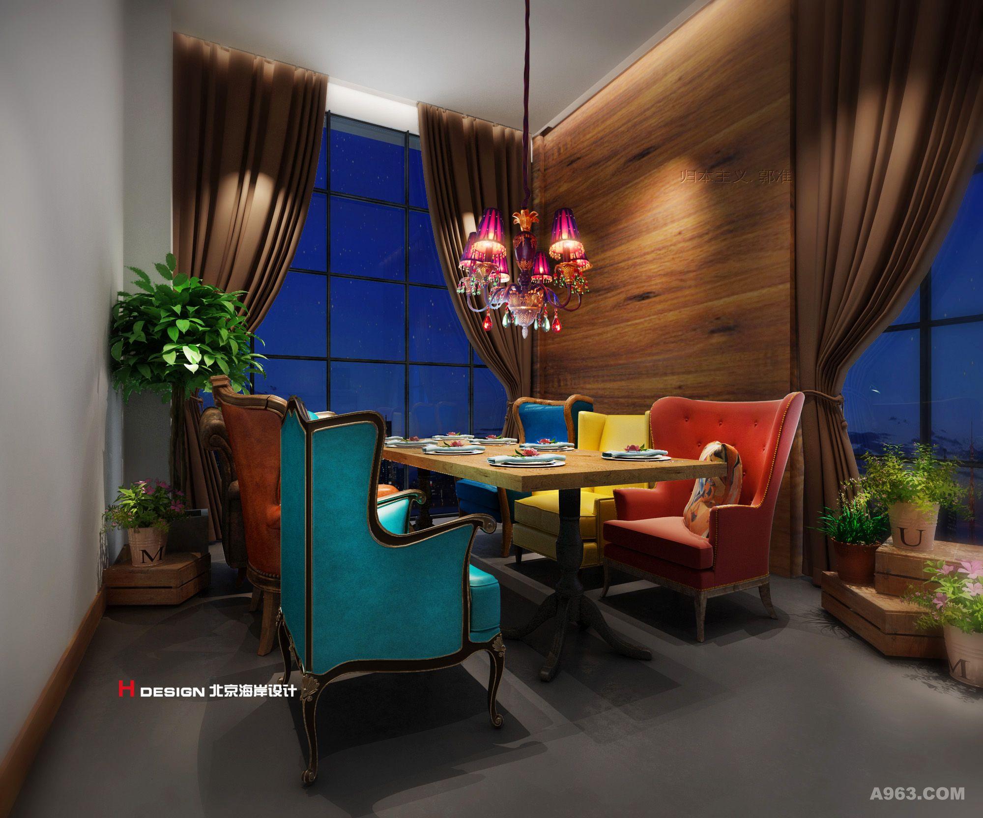 郭准先生笔下的约克音乐西餐厅,采用了虚实结合,疏密相辅的设计