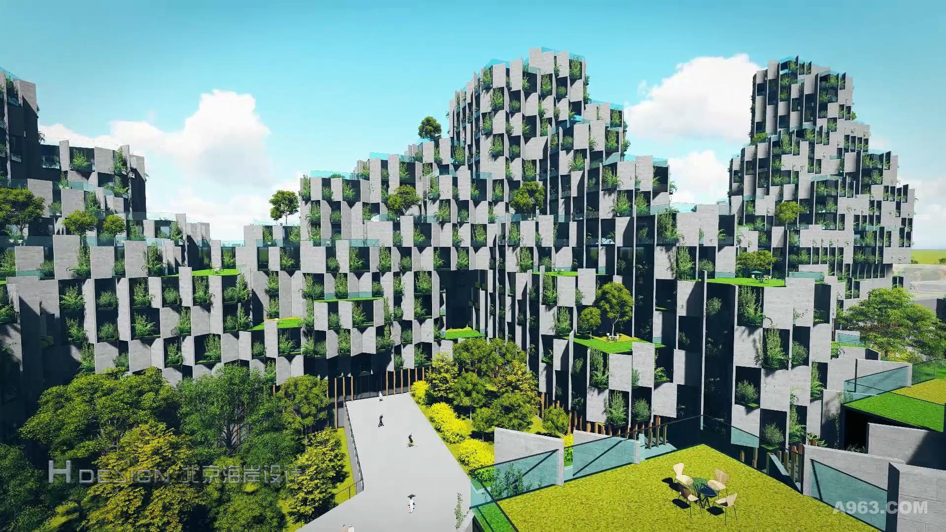 郭准先生对于产业园的设计概念取之于热带雨林.