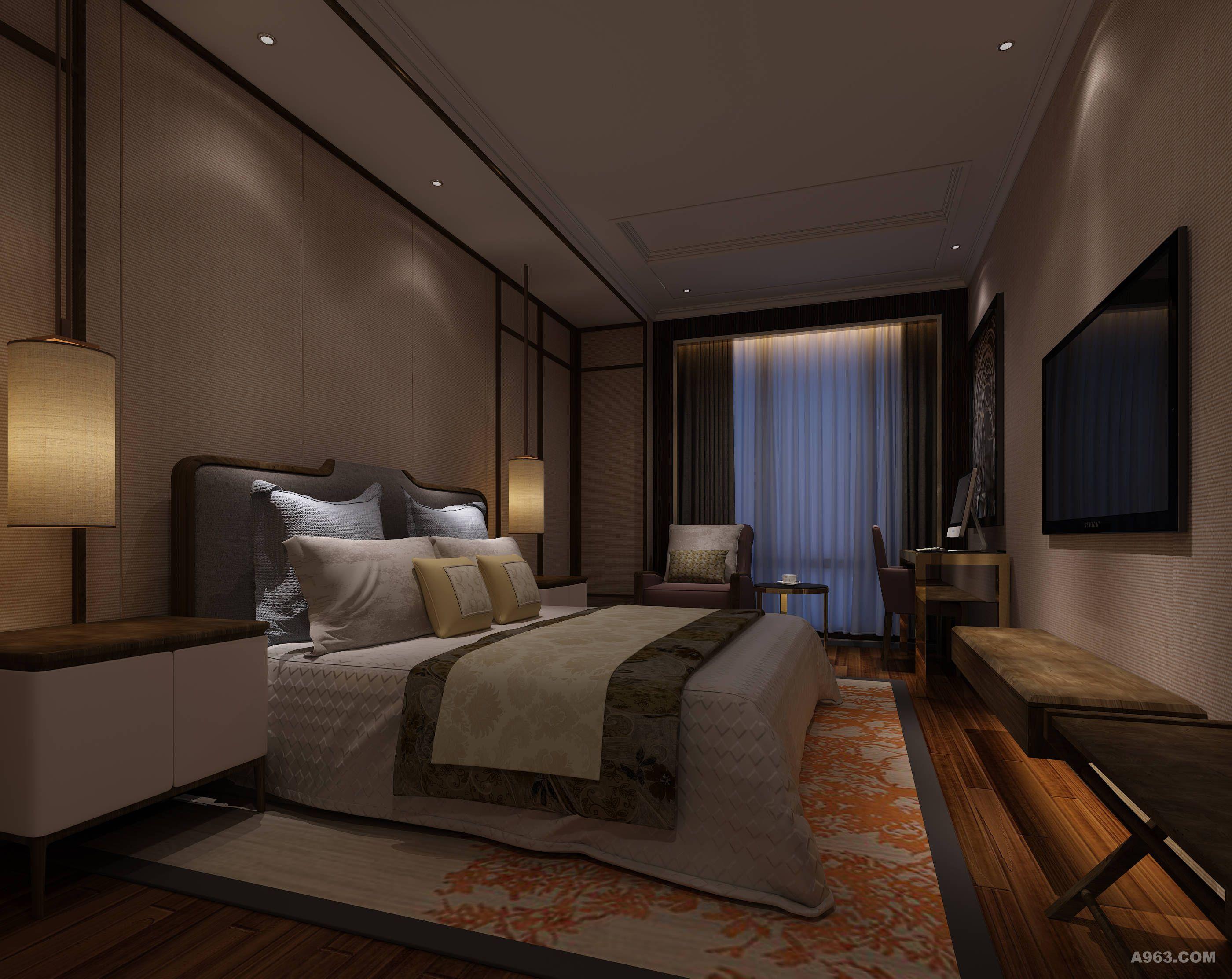 """本案设计秉承着""""礼、尊、和、达""""四个核心概念,以地域文化为脉,以东方文化为神,结合现代元素的时尚与潮流,进行重组、整合、创新,抽离出特有的文化脉络。简约的现代空间与东方元素的抽象剥离,让整个空间蕴含着大气深邃的东方意境。 酒店大堂设计笔法极淡,色调极简,以灰色大理石、木色隔断、杏色麻面墙布为主要材料;玫瑰金不锈钢条的点缀打破了传统空间的呆板沉闷,青色瓦片的穿插又将人带入一段历史,一段回忆。纵向木条以及肌理涂料相互映衬,配合着柔美的光影,像是在谱写一曲曼妙优美的古曲,让人不得不被这幽"""